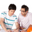 Two Architects Discussing on Blueprints — Stock Photo