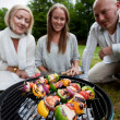 Friends Barbecue in Park — Stock Photo