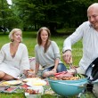 Friends with BBQ picnic in Park - Stock Photo