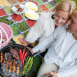 Happy Couple with BBQ in Park — Stock Photo