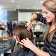 Hairdresser Cutting Client's Hair — Stock Photo #11536763