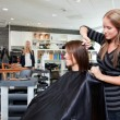 Hairdresser Thinning Customer's Hair — Stock Photo