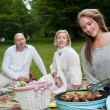 Group of Friends in Park with BBQ — Stock Photo