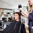 Stock Photo: Hairdresser Drying Customer's Hair