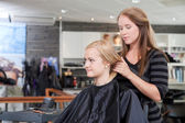 Happy Hairdresser and Client — Stock Photo