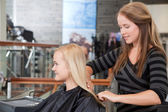 Hairdresser Brushing Customers Hair — Stock Photo
