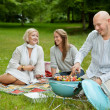 Friends in Park Eating BBQ Picnic — Stock Photo