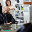 Hairdresser Giving Haircut To Woman — Stock Photo