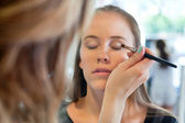 Beautician Applying Eye Make Up — Stock Photo