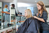 Getting Female Ready For Haircut — Stock Photo