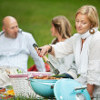 Friends BBQ Picnic in Park — Stock Photo