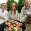 Kebabs on Portable Barbecue — Stock Photo