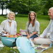 Happy Friends Having Picnic — Stock Photo