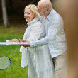 Couple Playing Badminton Together — Stock Photo