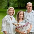 Family All Set For An Outdoor Picnic — Stock Photo
