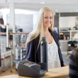 Woman At Cash Counter — Stock Photo