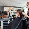 Hair Dresser with Customer in Beauty Salon — Stock Photo