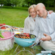 Mature Couple Cooking On An Outdoor Picnic — Stock Photo