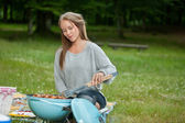 Young Female Cooking Food On Barbecue — Foto Stock