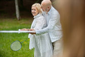 Couple Playing Badminton Together — Stok fotoğraf