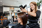 Blow Drying Hair After Haircut — Stockfoto