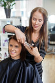 Woman Having a Haircut — Stock Photo