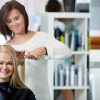 Stock Photo: Woman Getting Haircut At Parlor
