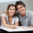 Couple With Color Swatch Chart — Stock Photo