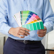 Foto Stock: Interior Designer Holding Color Swatches