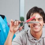 Happy Dressmaker Holding Scissor — Stock Photo