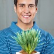 Man Holding Small Plant - Stock Photo