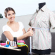 Female Fashion Designer Taking Measurement — Stock Photo