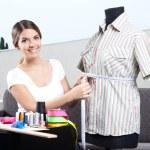 Female Fashion Designer Taking Measurement — Stock Photo