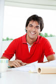 Happy Architect Working From Home — Stock Photo