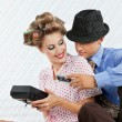 Stock Photo: Young Couple With Retro Cassette Player