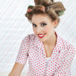 Woman With Hair Curlers - Stockfoto