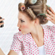 Woman Self Photographing Herself — Stock Photo