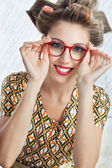 Woman Wearing Red Vintage Eyeglasses — Stock Photo