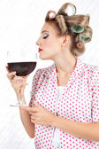 Woman Having Red Wine — Stock Photo