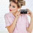 Woman Holding Vintage Camera — Foto de Stock