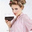Beautiful Female With Giant Wineglass — Stock Photo