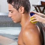 Man Receiving Back Massage — Stock Photo