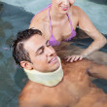 Man In Pool with Beautiful Woman — Stock Photo