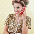 Woman Holding Retro Phone — Photo