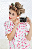 Woman Holding Vintage Camera — Stock Photo