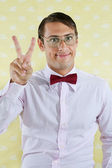Geek Gesturing Peace Sign — Stock Photo