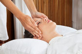 Woman Receiving Head Massage At Spa — Stock Photo