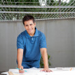 Architect Working On Blueprints — Stock Photo #12378303