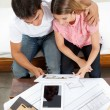 Couple Looking At House Plans — Stock Photo