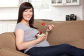 Pregnant Woman Eating Healthy Snack — Stock Photo